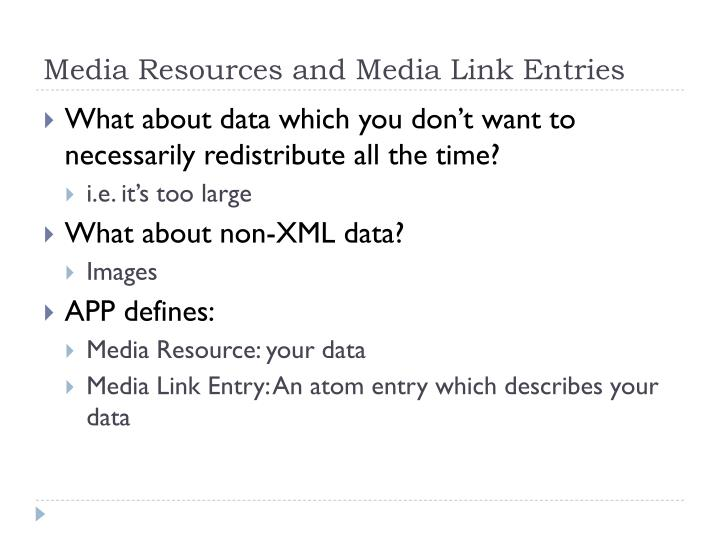 Media Resources and Media Link Entries