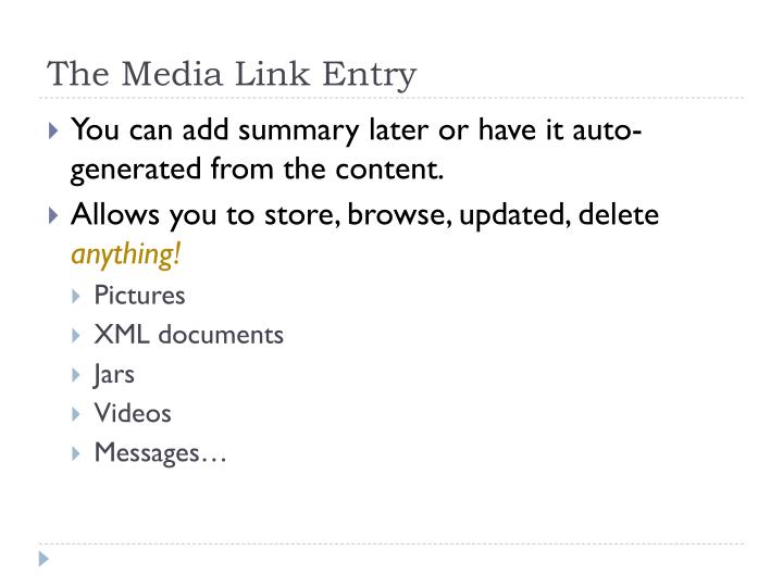 The Media Link Entry
