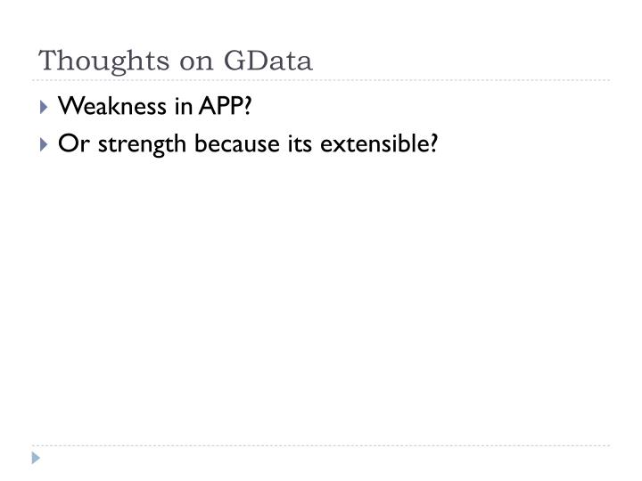 Thoughts on GData