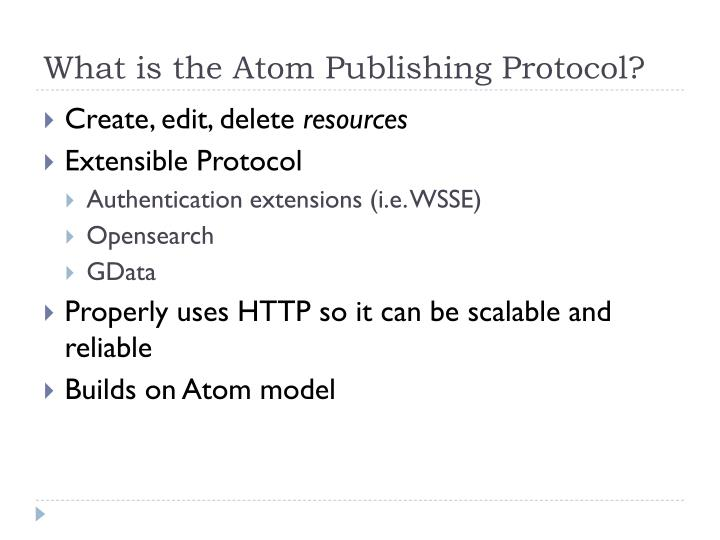 What is the Atom Publishing Protocol?