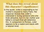 what does this reveal about this character significance2