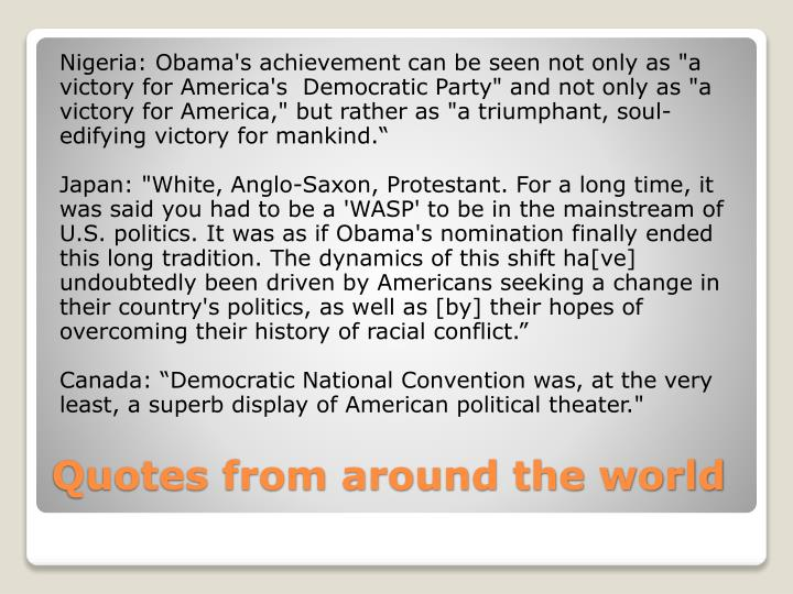 "Nigeria: Obama's achievement can be seen not only as ""a"