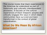 what do we mean by african american