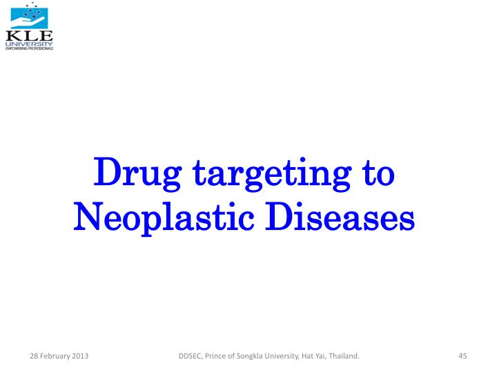 Drug targeting to Neoplastic Diseases