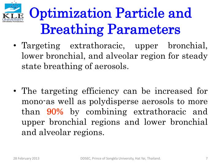 Optimization Particle and Breathing Parameters