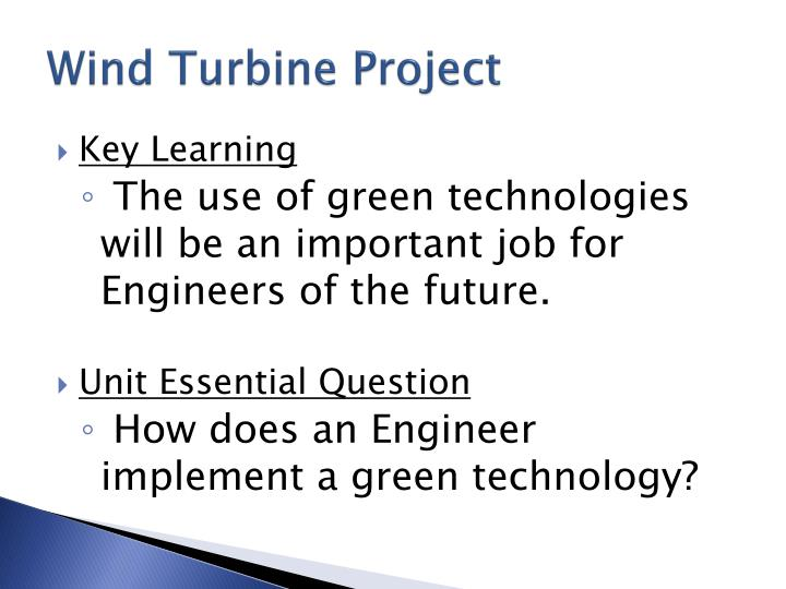 Wind turbine project