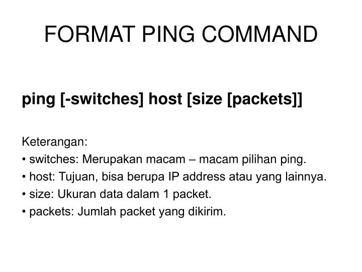 FORMAT PING COMMAND