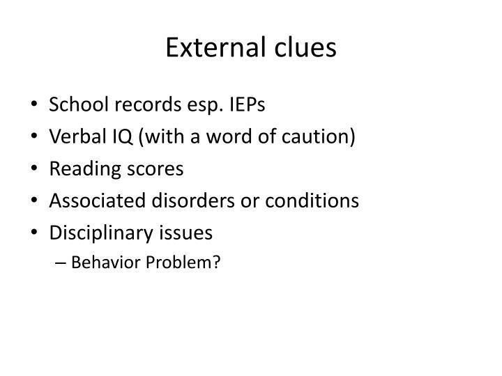 External clues