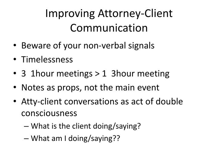 Improving Attorney-Client Communication