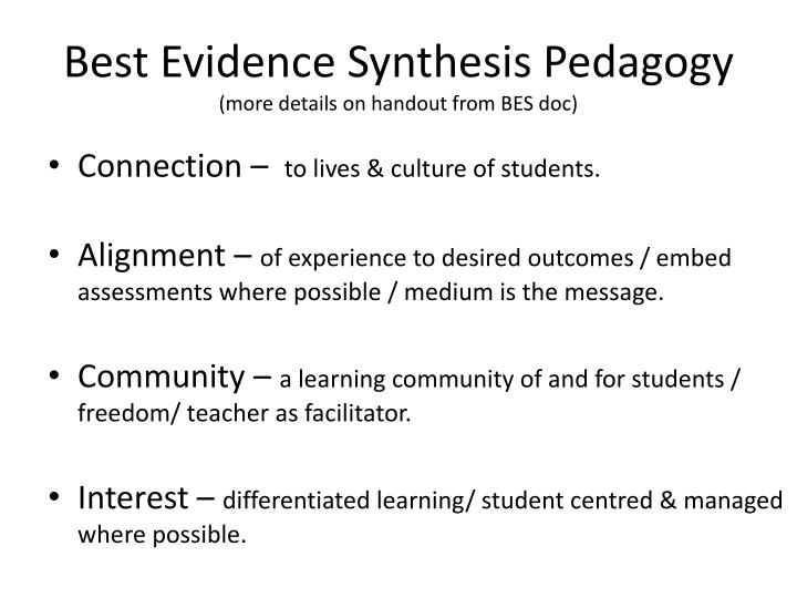 Best Evidence Synthesis Pedagogy