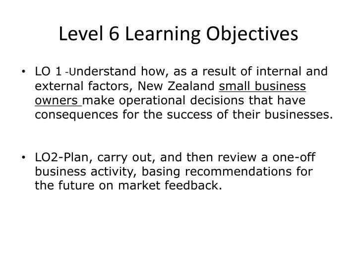 Level 6 Learning Objectives