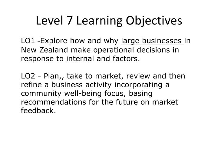 Level 7 Learning Objectives