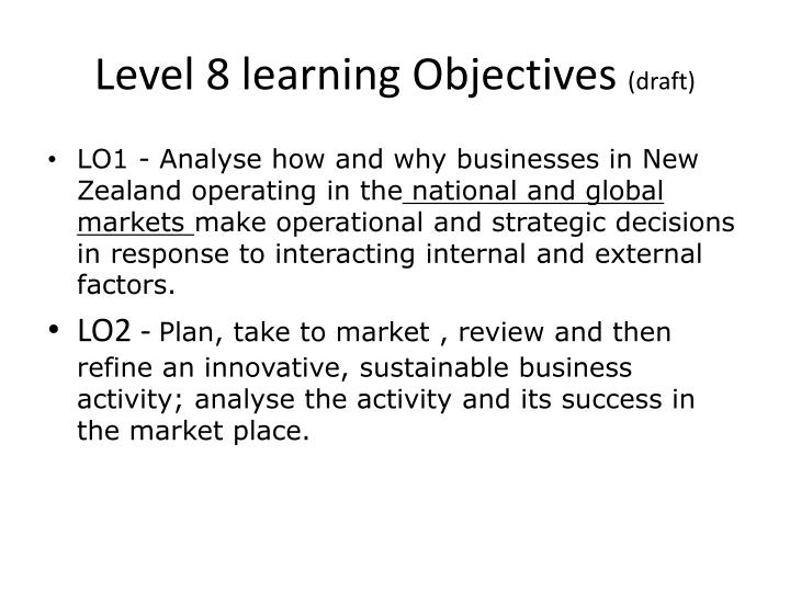 Level 8 learning Objectives