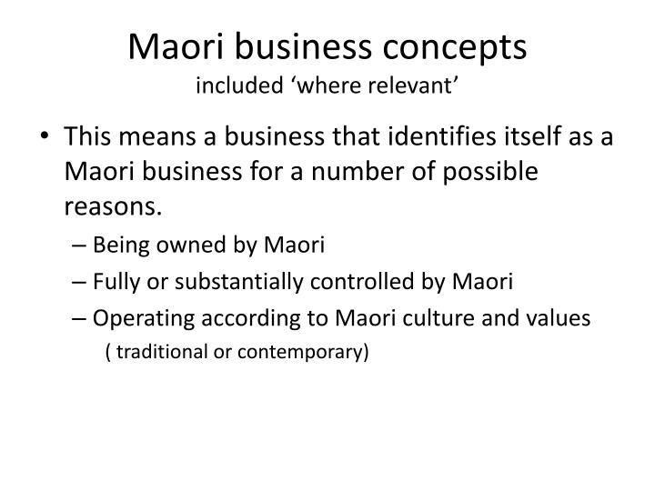 Maori business concepts