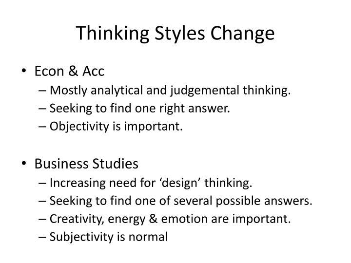 Thinking Styles Change