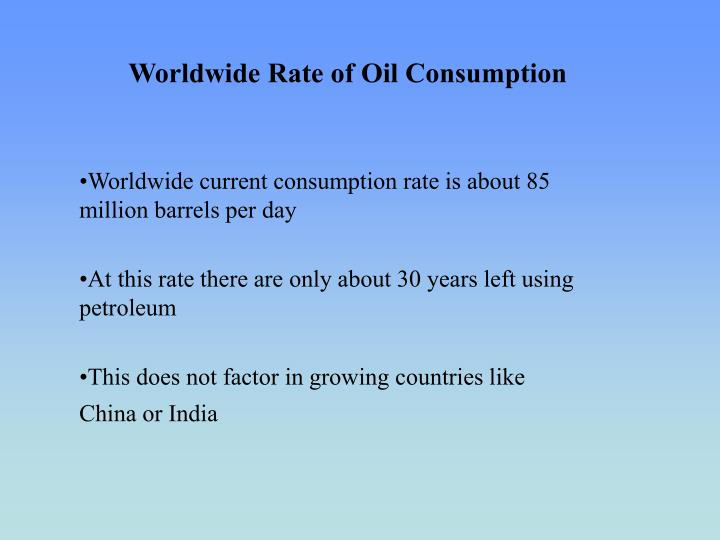 Worldwide rate of oil consumption