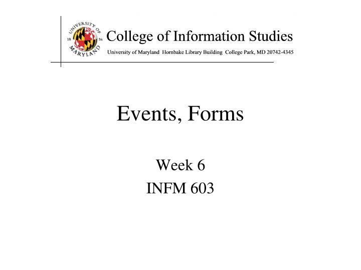 Events forms