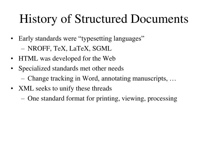 History of Structured Documents