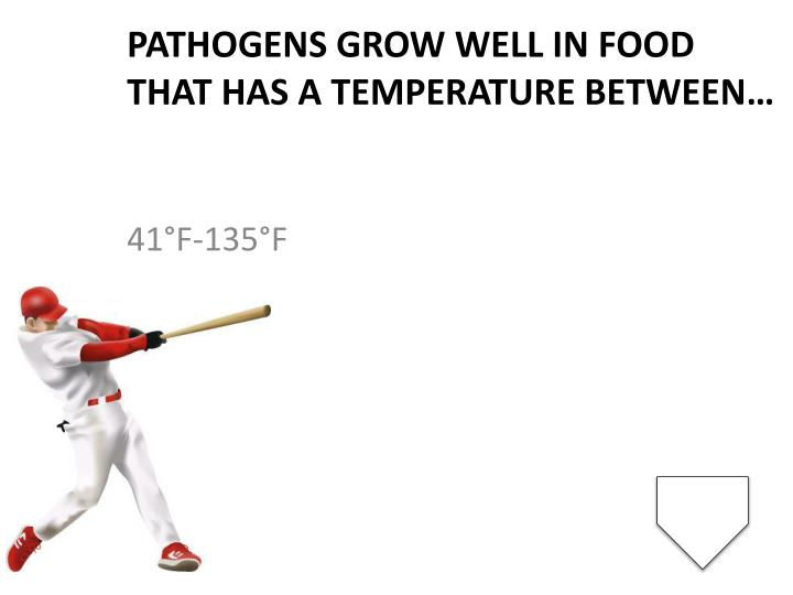 Pathogens grow well in food that has a temperature between…