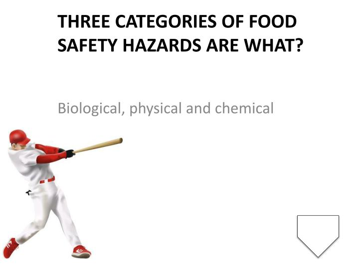 Three categories of food safety hazards are what?