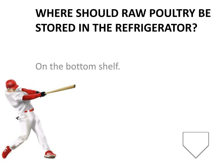 Where should raw poultry be stored in the refrigerator?