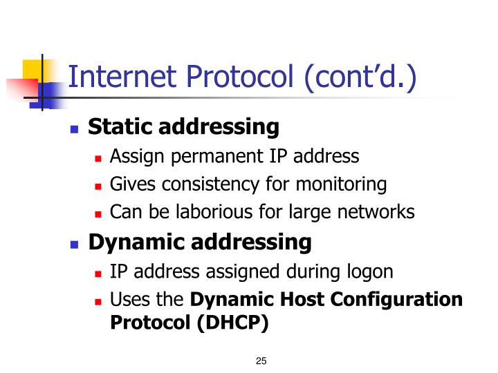 Internet Protocol (cont'd.)