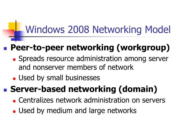 Windows 2008 Networking Model