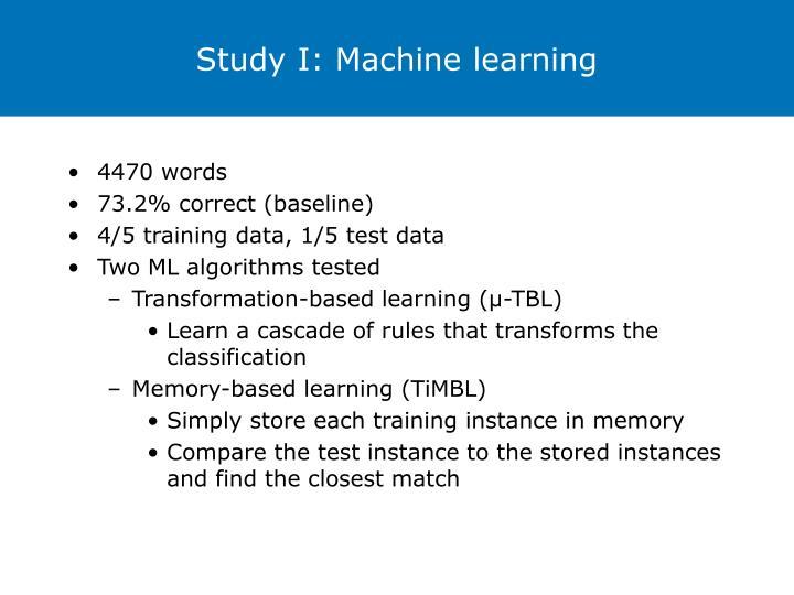 Study I: Machine learning