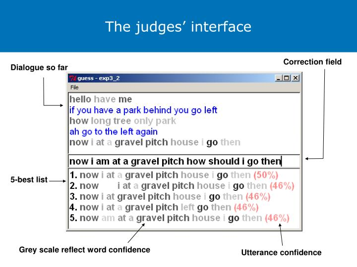 The judges' interface
