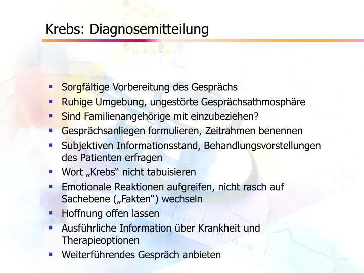 Krebs: Diagnosemitteilung