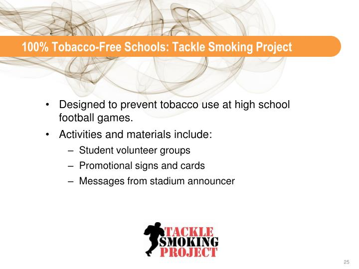 100% Tobacco-Free Schools: Tackle Smoking Project