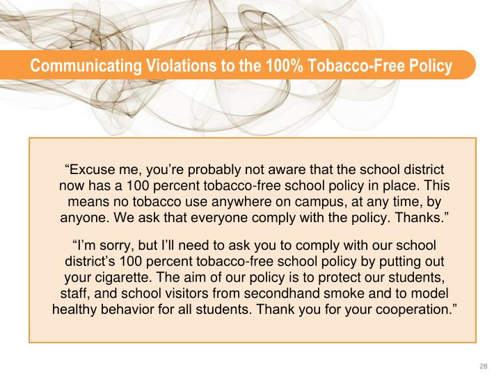 Communicating Violations to the 100% Tobacco-Free Policy