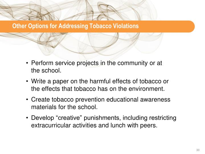 Other Options for Addressing Tobacco Violations