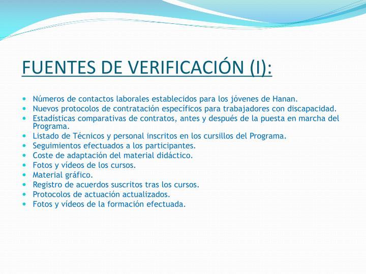 FUENTES DE VERIFICACIÓN (I):
