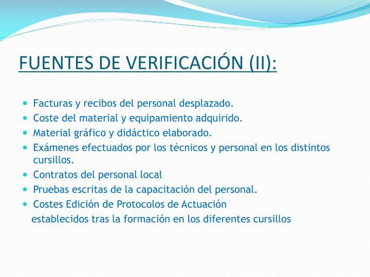 FUENTES DE VERIFICACIÓN (II):