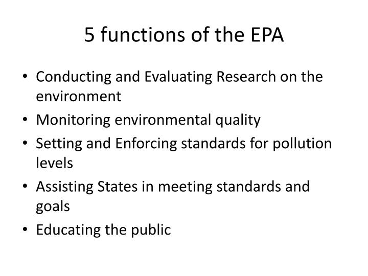 5 functions of the EPA