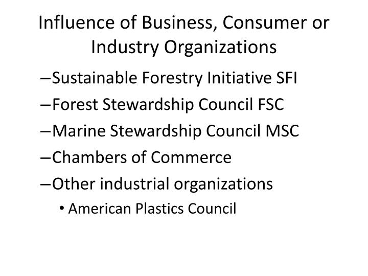 Influence of Business, Consumer or Industry Organizations