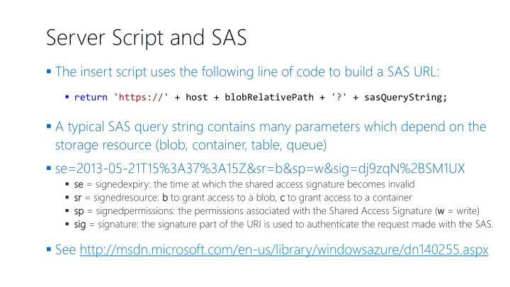 Server Script and SAS