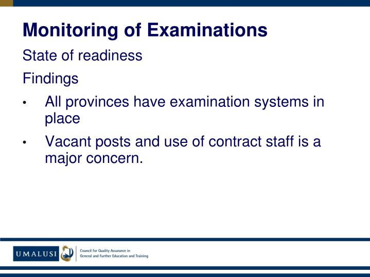 Monitoring of Examinations