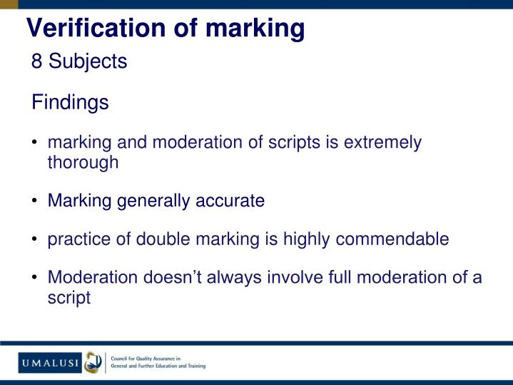 Verification of marking