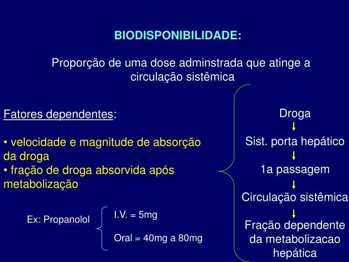 BIODISPONIBILIDADE: