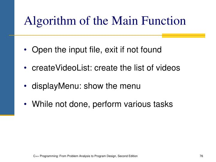 Algorithm of the Main Function