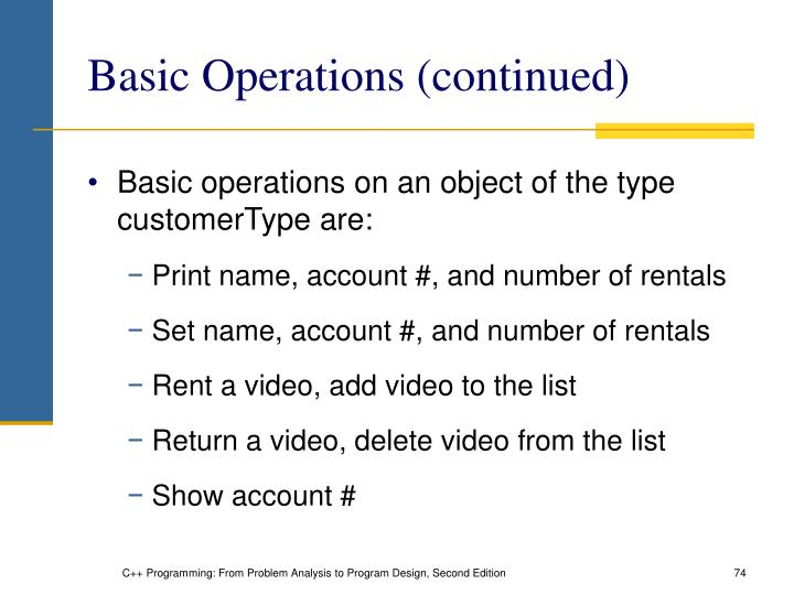 Basic Operations (continued)