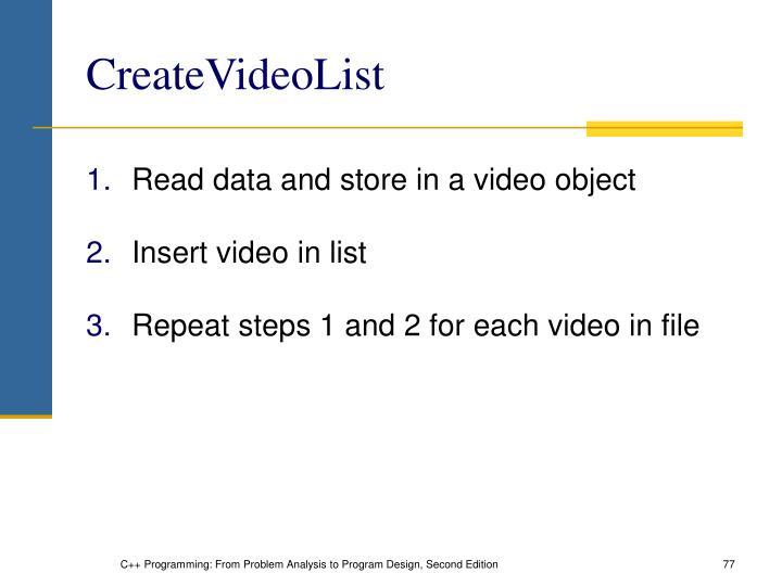 CreateVideoList