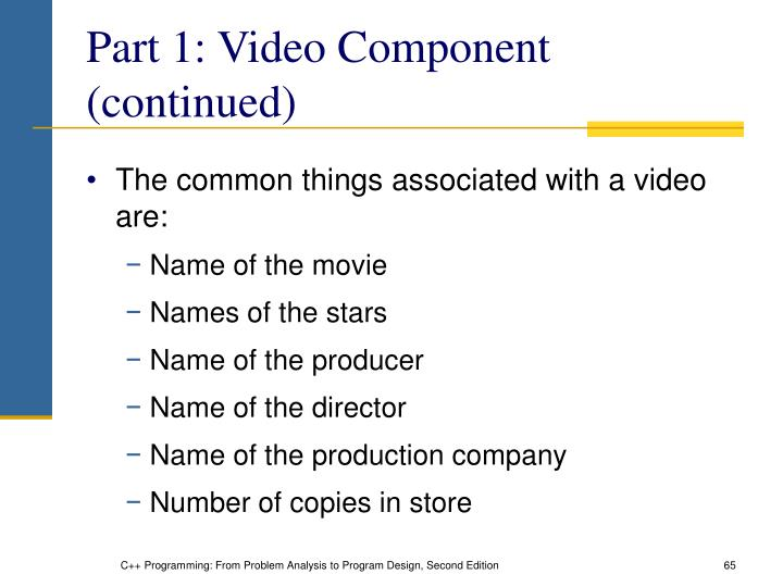 Part 1: Video Component (continued)