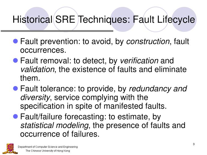 Historical SRE Techniques: Fault Lifecycle
