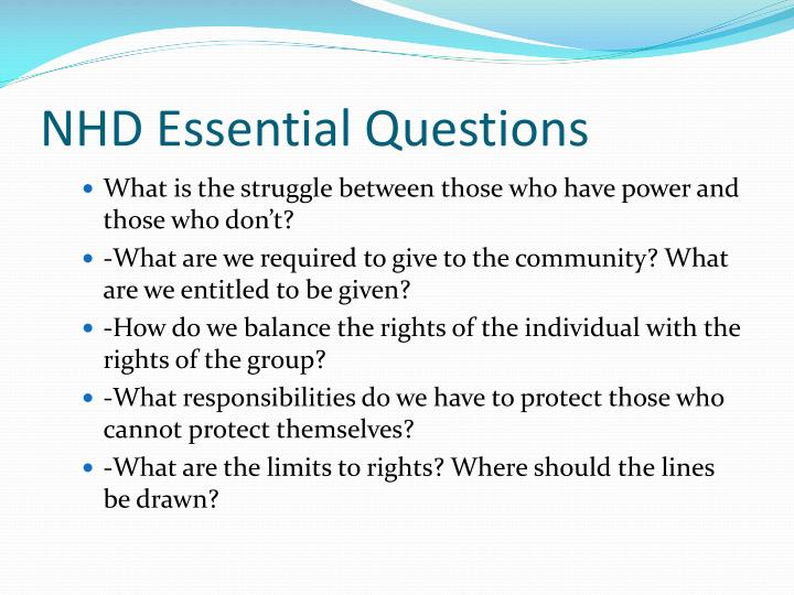 NHD Essential Questions