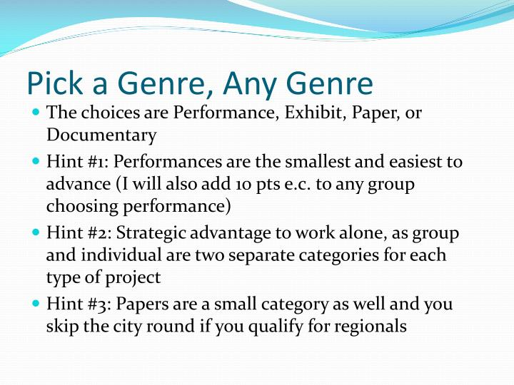 Pick a Genre, Any Genre