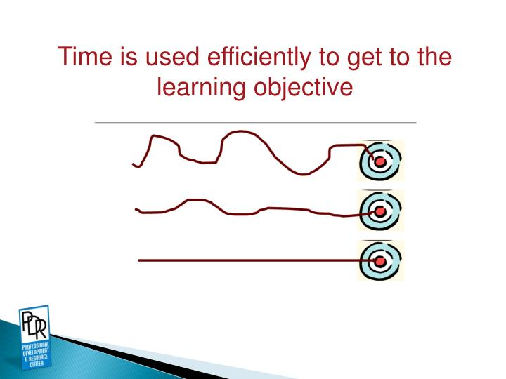 Time is used efficiently to get to the learning objective