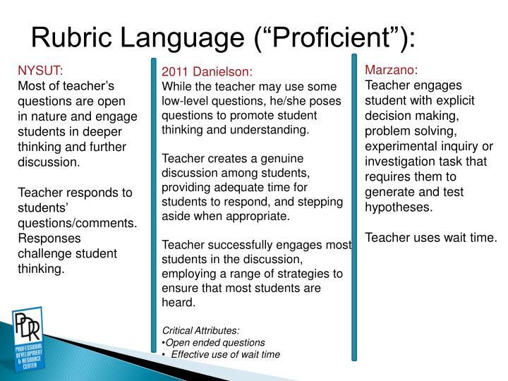 """Rubric Language (""""Proficient""""):"""